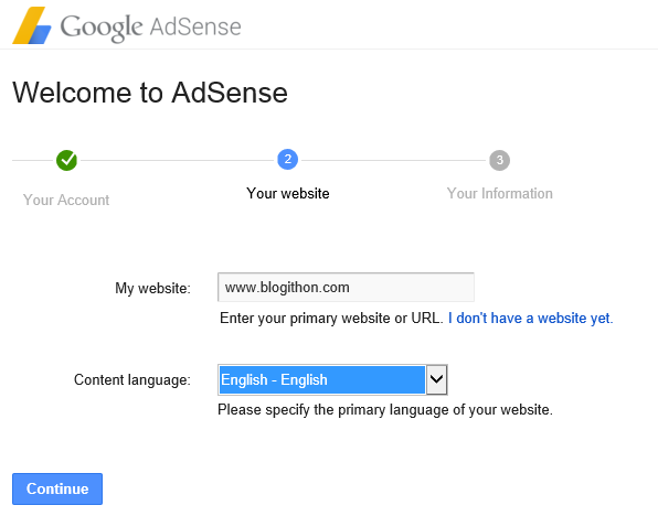 AdSense Give youe website details