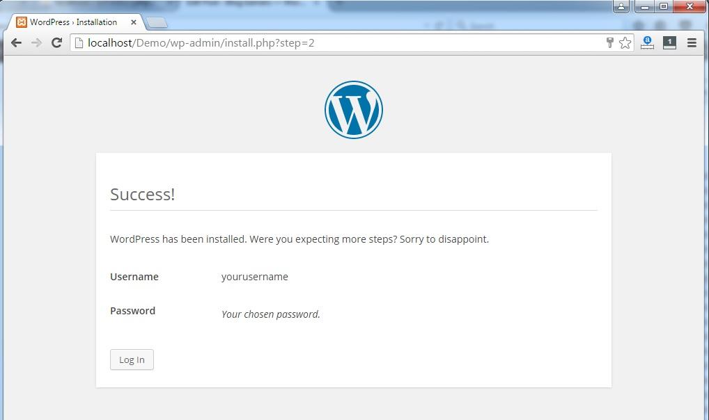Wordpress-success-message