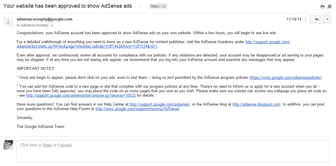 adsense approved email