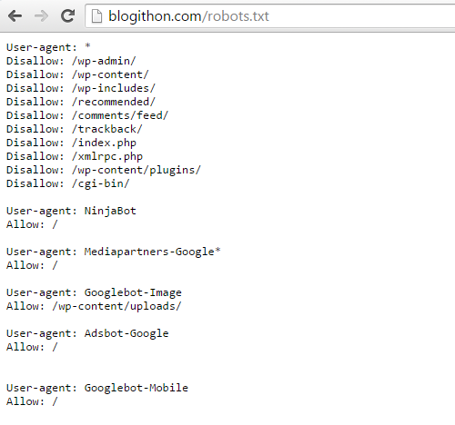 Blogithon WordPress robots txt file