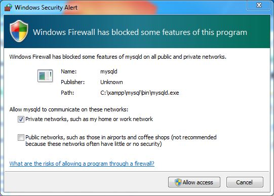 xampp-firewall-warning
